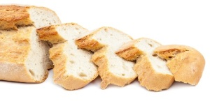 Bread slices on white background.